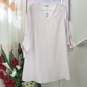 NWT Express Shift Dress Self tie long sleeve
